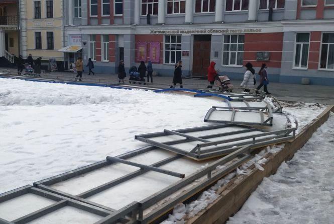 Крига скресла: на Михайлівській комунальники почали розбирати ковзанку