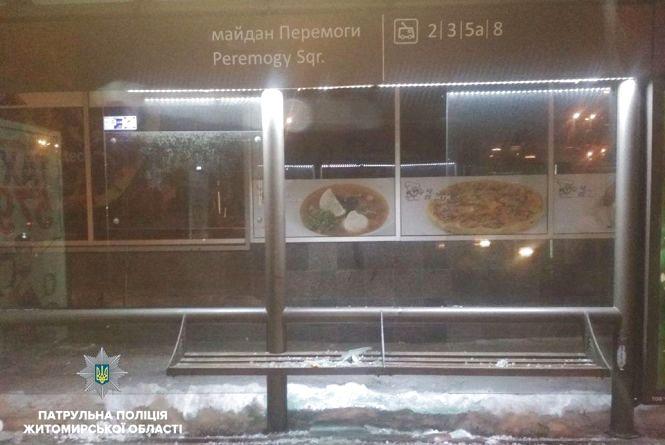 У Житомирі затримали вандалів, що розтрощили зупинку громадського транспорту на майдані Перемоги