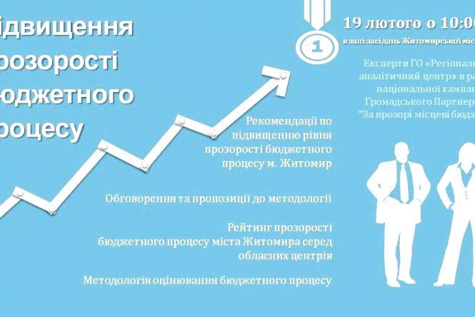 """У Житомирі презентують результати рейтингу """"Індекс прозорості місцевих бюджетів"""""""
